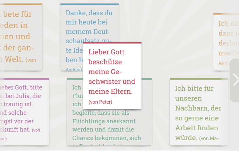 Gebetszettelwand auf konfiweb.de