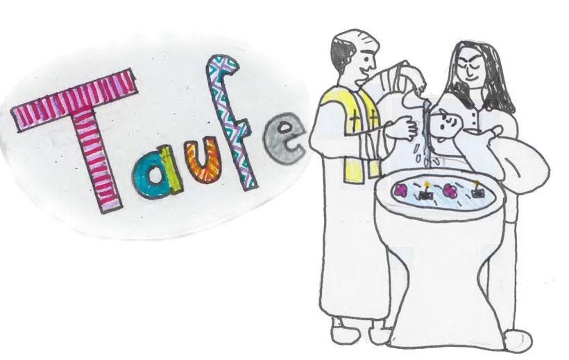 Zeichnung Konfis Taufe
