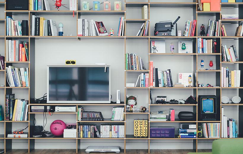 Das Bild zeigt ein Regal mit Büchern, Spielen und Gegenständen