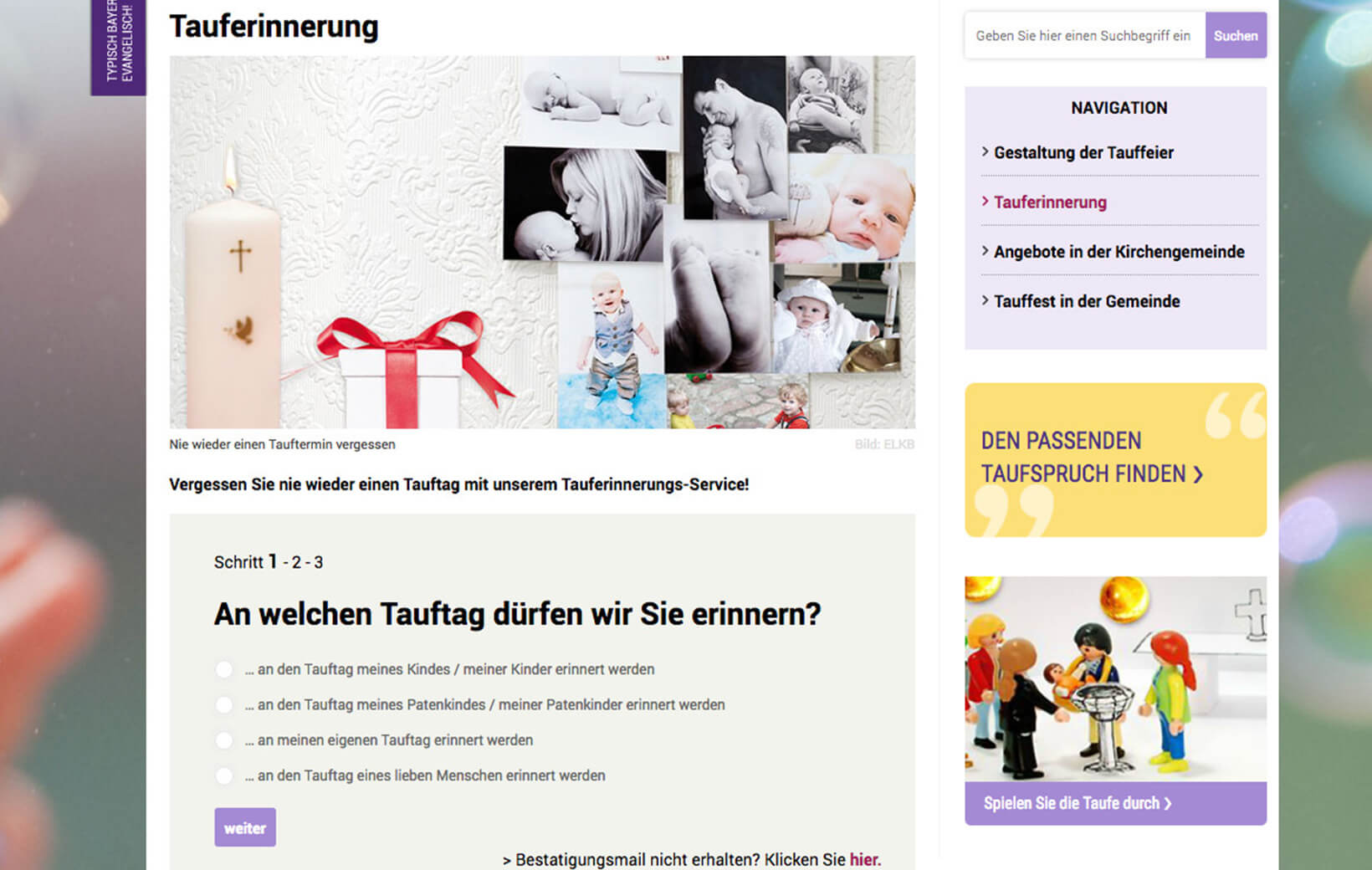 Tauferinnerung Website