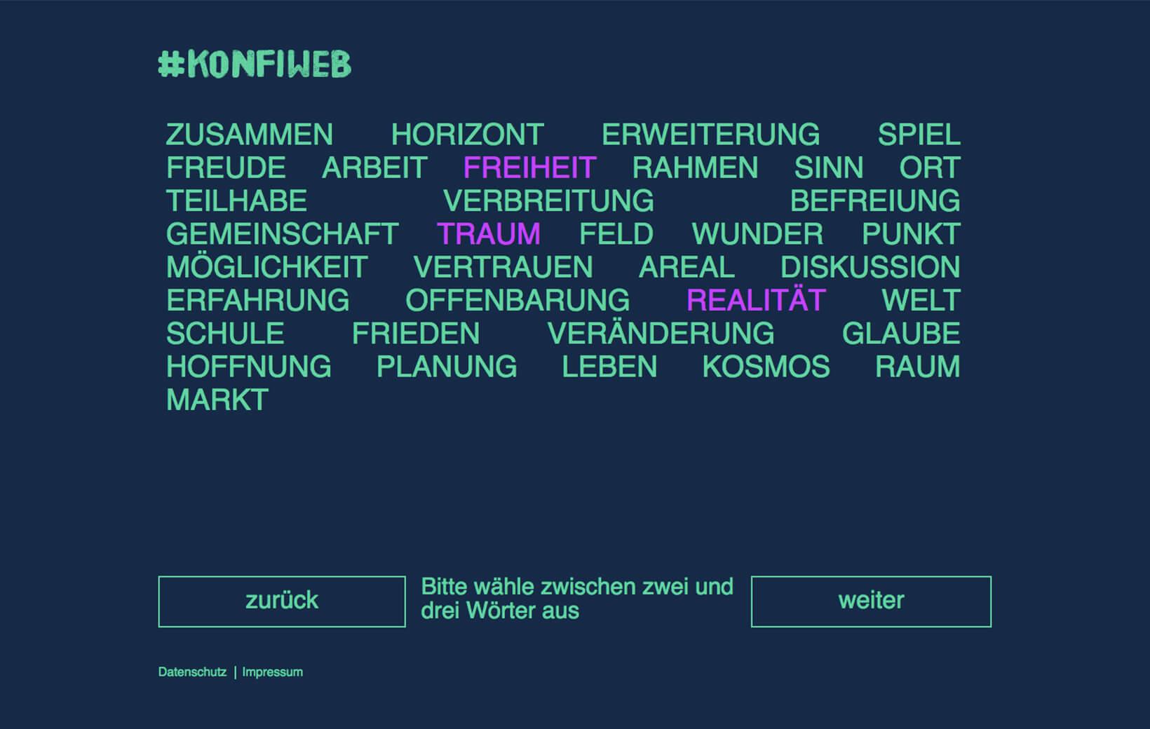 Wortschöpfung Auswahlbildschirm