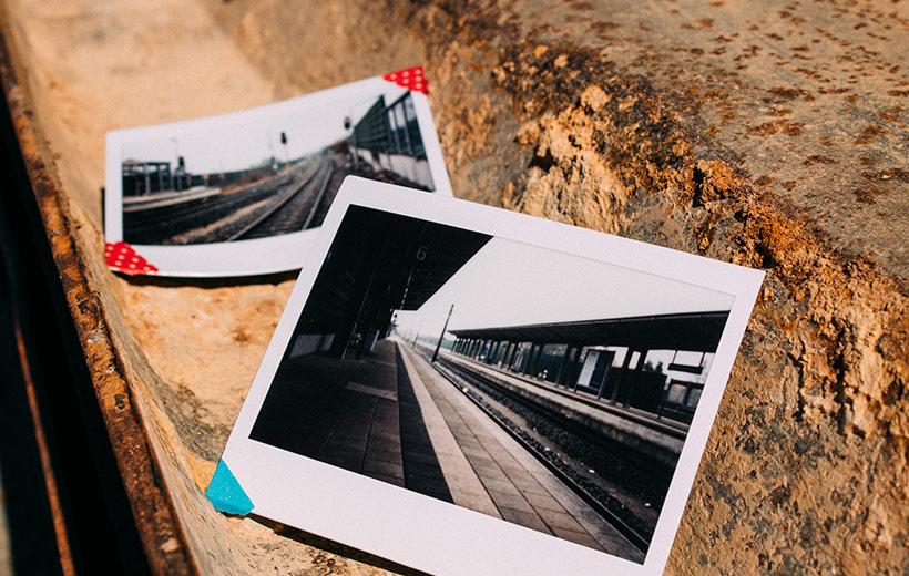 Polaroid mit Zuggleisen